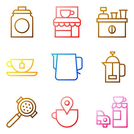 Coffee related vector icon set, gradient design