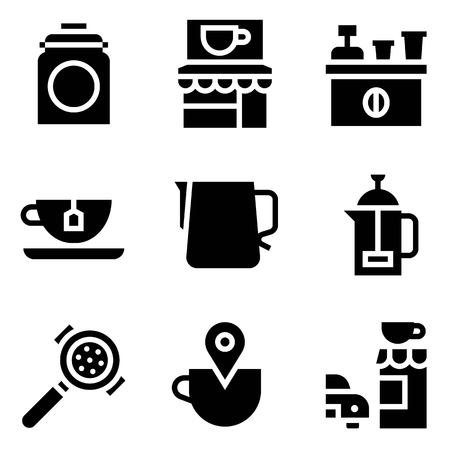 Coffee related vector icon set, solid design Illustration