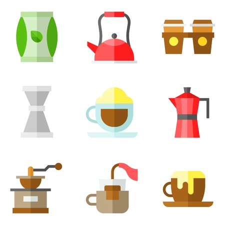 Coffee related vector icon set 3, flat design