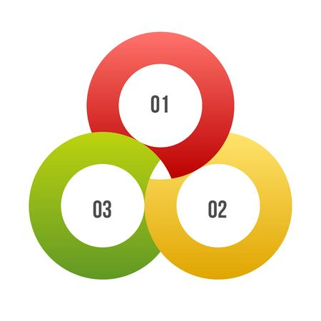 3 steps Circle chart, Circle infographic or Circular diagram Ilustração