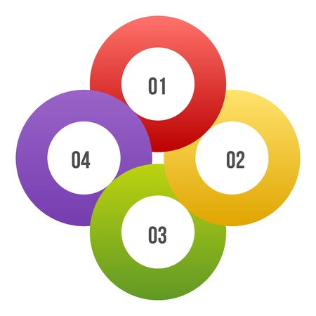 4 steps Circle chart, Circle infographic or Circular diagram
