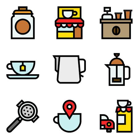 Coffee related vector icon set, filled style editable outline Illustration