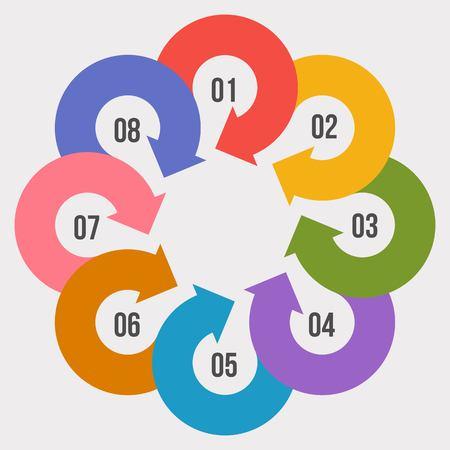 8 steps Circle chart, Circle infographic or Circular diagram Ilustração