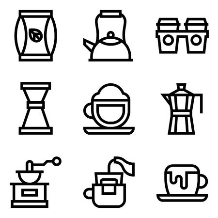 Coffee related vector icon set, line design