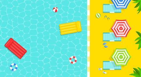 Heure d'été, illustration vectorielle de piscine affiche