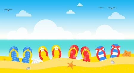 Heure d'été, illustration vectorielle d'été plage affiche Vecteurs