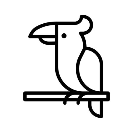 Parrot vector, tropical related line design icon