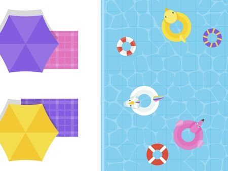 Summer Holiday, Top view Swimming pool vector illustration