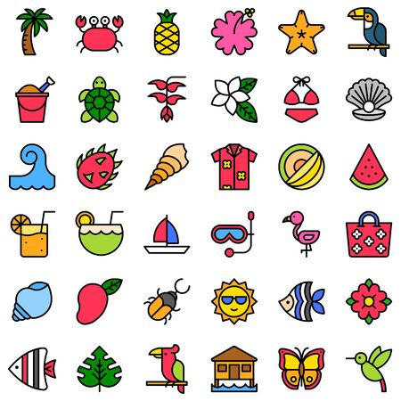 Tropical related vector icon set, filled design