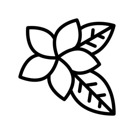 Plumeria vector, tropical related line design icon Иллюстрация