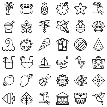Tropical related vector icon set, line design Illustration
