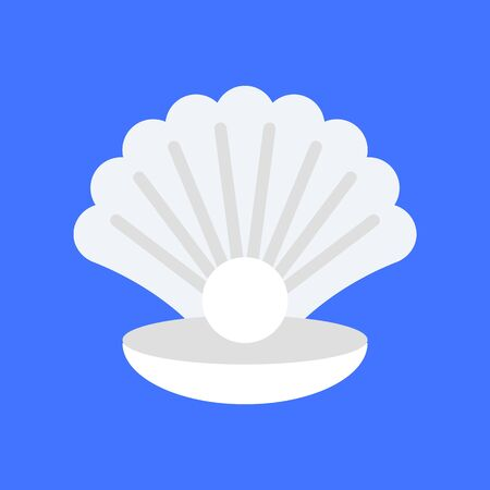 Seashell with pearl vector, tropical related flat design icon