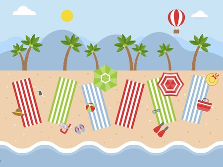Summer Holiday, Beach view with beach equipment vector Illustration