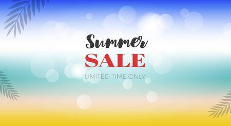 Summer Sale poster, Summer Beach view vector illustration