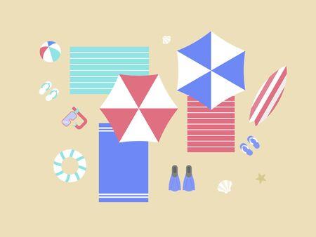 Summer Holiday, Beach with beach equipment vector illustration Çizim