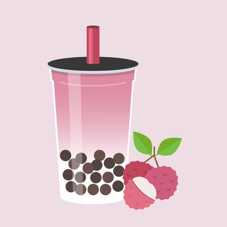 Lychee Bubble tea flat design vector illustration