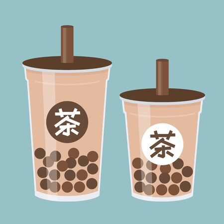 Bubble tea or Pearl milk tea with Chinese Alphabet meaning Tea