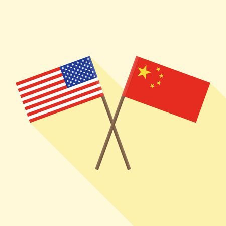 Flag of China crossed with and Flag of United states vector