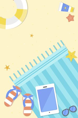Summer Holiday, Beach view with summer element vector Illustration