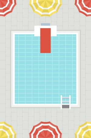 Pool Party, Swimming pool with beach umbrella vector Illustration