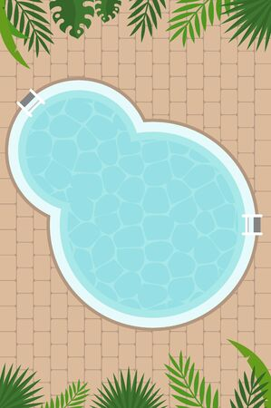 Summer poster, Swimming pool with palm leaf vector Illustration