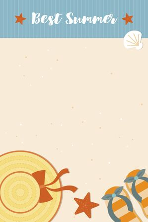 Summer Holiday, Beach sand background with summer element vector Illustration