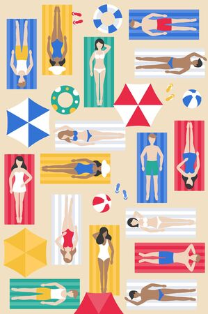 Sunbathing, different people on beach mat vector illustration Illustration