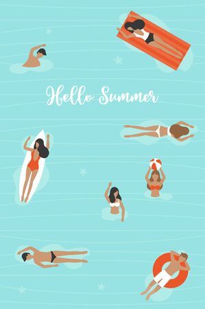 Hello Summer, People in Swimming pool vector illustration