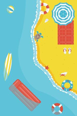 Summer beach with swim equipment vector illustration