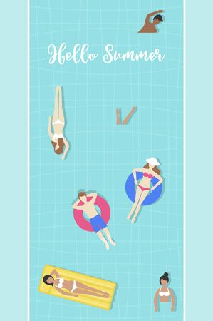 Hello Summer, Top view Swimming pool vector illustration Illustration