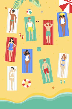 Summer time, Sun bathing at the beach vector illustration Illustration