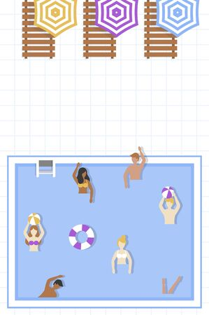 Summer Holiday, People in Swimming pool vector illustration