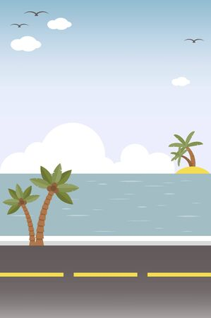 Roadside with Sea view background, vector illustration
