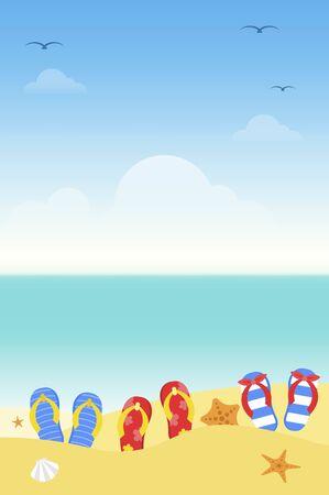 Summer time, Summer beach poster vector illustration Illustration
