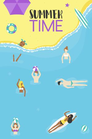 Summer time, People at the beach vector illustration