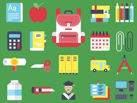 Back to school vector icon set, flat design Illustration
