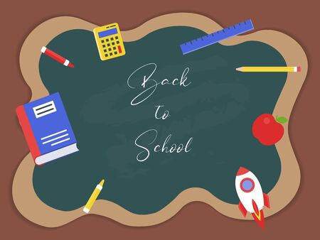 Back to school background for flyer or poster template, vector illustration