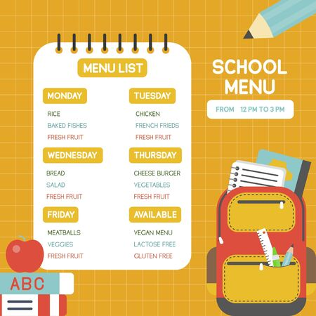 Back to school poster, School menu poster template, vector illustration Stock Vector - 129084844