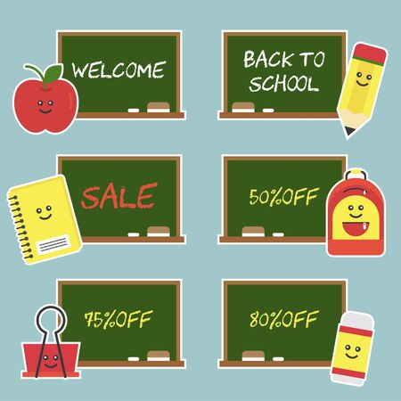 Back to school poster template, vector illustration Stock Vector - 129084943