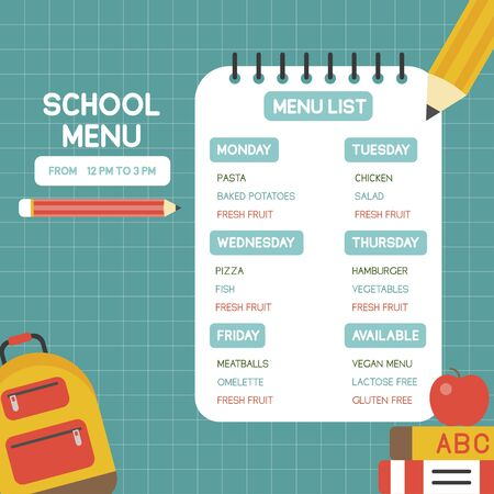 Back to school poster, School menu poster template, vector illustration