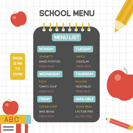 Back to school poster, School menu poster template, vector illustration
