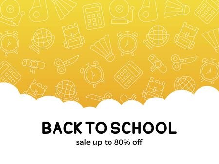 Back to school, School supplies sale poster template, vector illustration