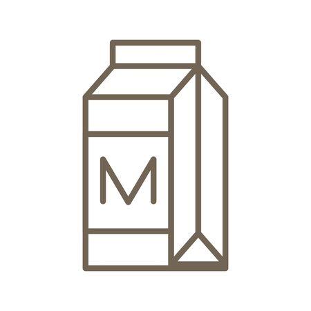 Milk carton or beverage carton vector, line icon Illustration