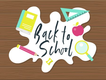 Back to school, School supplies poster template, vector illustration Stock Vector - 129085209