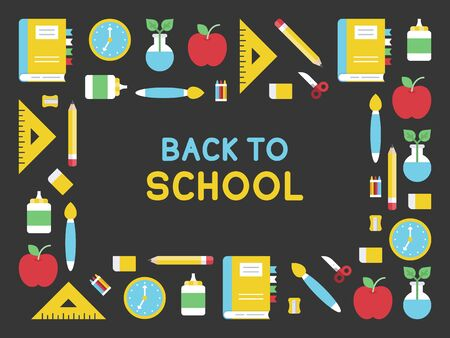 Back to school, School supplies poster template, vector illustration