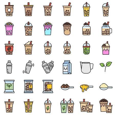 Bubble tea or Pearl milk tea related filled icon set, vector illustration Vektoros illusztráció