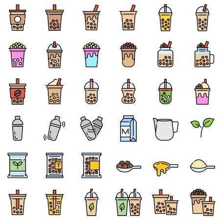 Bubble tea or Pearl milk tea related filled icon set, vector illustration