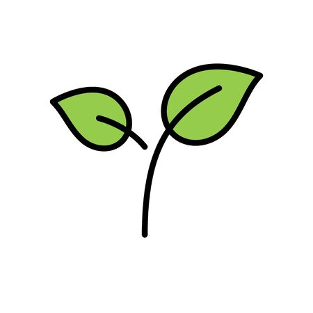 Green tea leaves vector icon, filled design