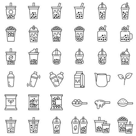 Bubble tea or Pearl milk tea related line icon set, vector illustration