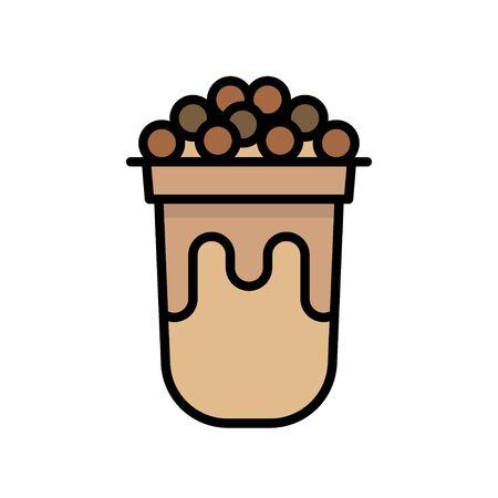 Bubble tea or Pearl milk tea filled vector icon Stock Vector - 129084274